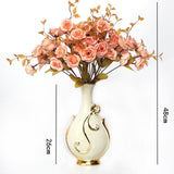 Renaissance Ceramic Flower Vase-home accent-wanahavit-Big C n 3Pink Roses-wanahavit