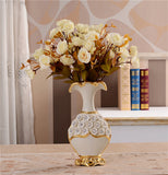 Renaissance Ceramic Flower Vase-home accent-wanahavit-Big A n 3White Roses-wanahavit