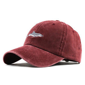 100% Washed Cotton Shark Embroidered Snapback Baseball Cap-unisex-wanahavit-F183 Red-Adjustable-wanahavit