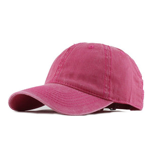 100% Washed Cotton Solid Color Snapback Baseball Cap-unisex-wanahavit-F149 Rose-Adjustable-wanahavit