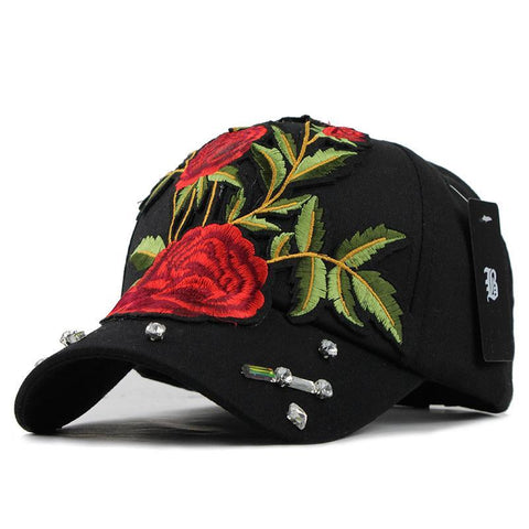Rose Embroid Baseball Cap