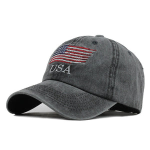 USA Flag Embroidered Snapback Baseball Cap-unisex-wanahavit-F398 Black-Adjustable-wanahavit