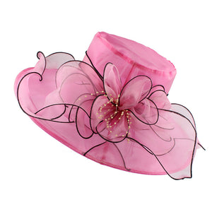 Elegant English Floral Brim Church Hat-women-wanahavit-F305 Rose-wanahavit