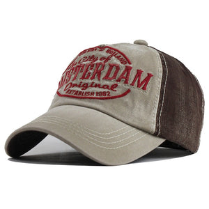 City of Amsterdam Embroidered Snapback Baseball Cap-unisex-wanahavit-F396 Beige Brown-Adjustable-wanahavit