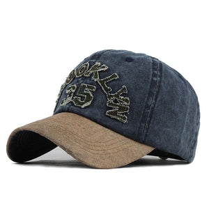 Brooklyn 35 Washed Cotton Snapback Baseball Cap-unisex-wanahavit-F608 Navy-Adjustable-wanahavit