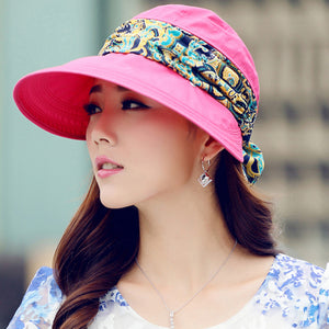 Wide Brim with Sun Hat with Bandana-women-wanahavit-F308 Rose Red-wanahavit