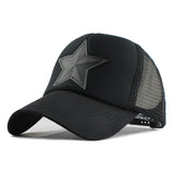 Star Patched Baseball Cap-unisex-wanahavit-Black-Adjustable-wanahavit