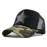 Star Patched Baseball Cap-unisex-wanahavit-Camouflage Black-Adjustable-wanahavit