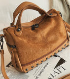 Velvet Rivet Punk Style Leather Suede Patchwork Shoulder Bag-women-wanahavit-brown-(20cm<Max Length<30cm)-wanahavit