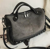 Velvet Rivet Punk Style Leather Suede Patchwork Shoulder Bag-women-wanahavit-grey-(20cm<Max Length<30cm)-wanahavit