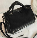Velvet Rivet Punk Style Leather Suede Patchwork Shoulder Bag-women-wanahavit-black-(20cm<Max Length<30cm)-wanahavit