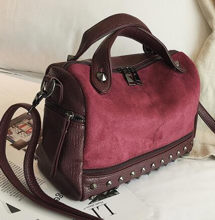 Velvet Rivet Punk Style Leather Suede Patchwork Shoulder Bag-women-wanahavit-wine red-(20cm<Max Length<30cm)-wanahavit
