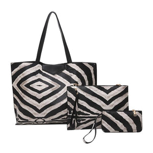 Zebra Pattern Composite Leather Handbag Set-women-wanahavit-black-(30cm<Max Length<50cm)-wanahavit