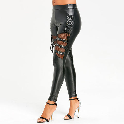 Faux Leather Belted Slim Fit Legging