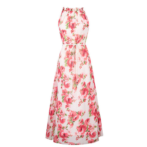 Floral Print Long Chiffon Summer Dress-women-wanahavit-Apricot-XXL-wanahavit