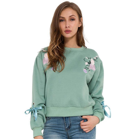 Floral Embroidery Ribbon Sleeve Sweatshirt