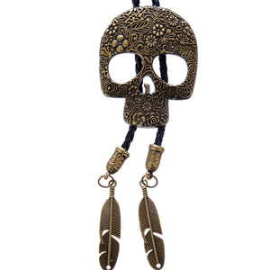 PU Leather Rope Gothic 3D Skull Pendant Necklace-unisex-wanahavit-Gold-color-wanahavit
