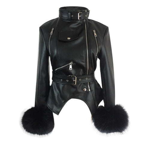 Gothic Faux Fox Fur Cuffs PU Leather Jacket