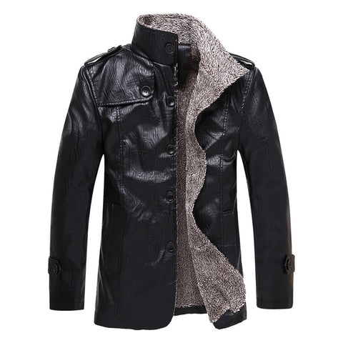 Gothic Faux Leather Stand Collar Jacket-men-wanahavit-Black-L-wanahavit