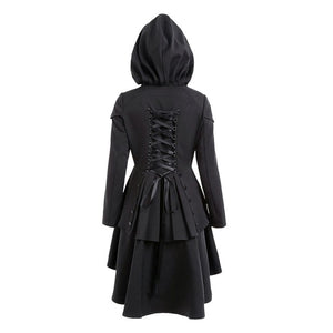 Gothic Vintage Hooded Trench Coat-women-wanahavit-Black-S-wanahavit