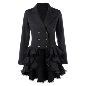 Gothic Lace Trench Ruffle Overcoat-women-wanahavit-Black-L-wanahavit