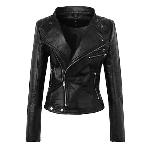 Gothic Motorcycle Faux Leather PU Jacket-women-Black-M-wanahavit