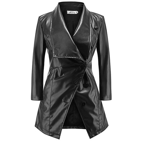 Gothic Biker Faux Leather Coat