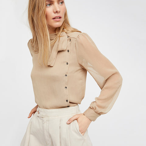 Solid Color Semi-Sheer Sexy Lace Up Belted Blouse-women-Light Khaki-XXL-wanahavit