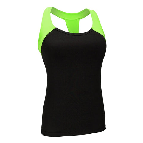 Two Color Accent Padded Yoga Sleeveless Shirt