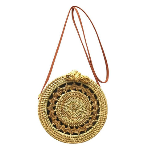 Big Mandala Pattern Flap Round Straw Rattan Bag