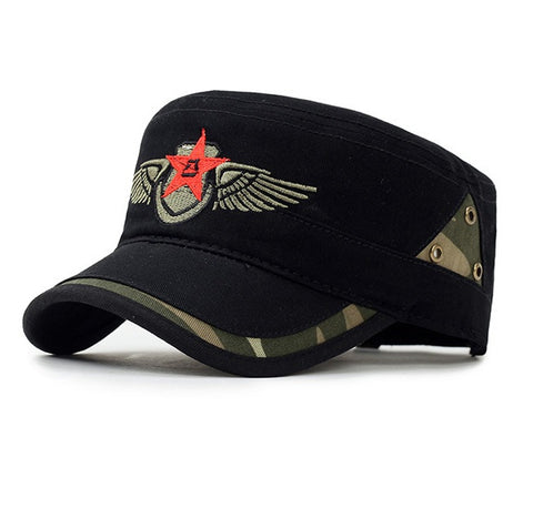 Star and Wing Embroided Military Cap-unisex-wanahavit-BLACK-wanahavit