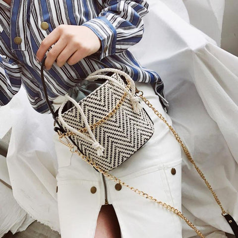 Japan Style Weaved Straw Tote Shoulder Bag
