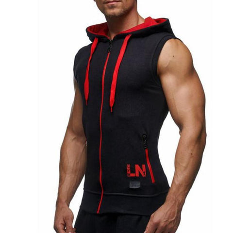 Casual Hooded Zipper Closure Sleeveless Vest-men fashion & fitness-wanahavit-Red-M-wanahavit