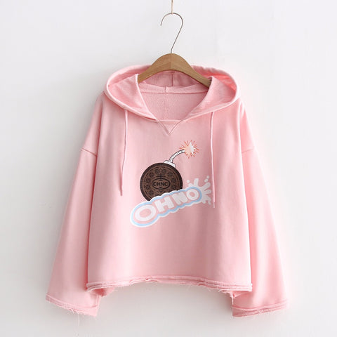 Oh No Printed Loose Hooded Sweatshirt-women-wanahavit-Pink-One Size-wanahavit