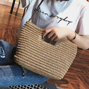 Weave Straw Braided Shoulder Tote Bag-women-wanahavit-Beige-wanahavit