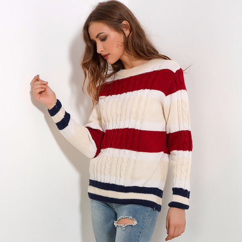 Thick Stripes Long Sleeve Sweater-women-wanahavit-Striped-One Size-wanahavit