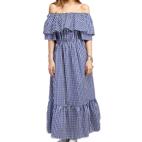 Ruffle Off Shoulder Plaid Long Dress