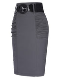 Sexy Pencil Office High Waist Skirt With Belt-women-wanahavit-Gray-S-wanahavit