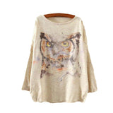 Watercolor Owl Printed Knitted Long Sleeve-women-wanahavit-One Size-wanahavit