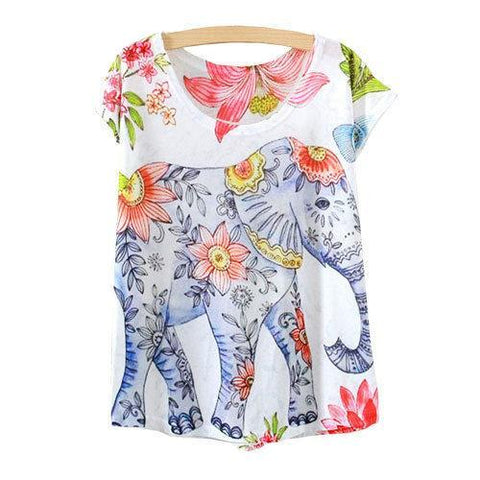 Elephant Printed Short Sleeve Tees