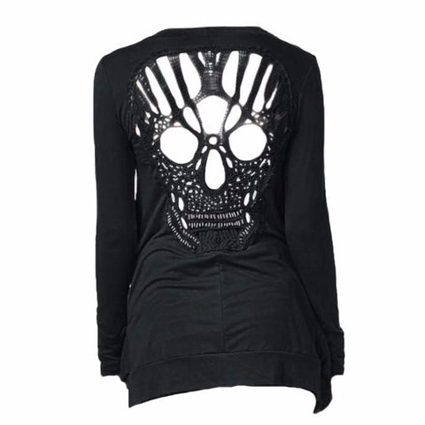 Knitted Skull Hollow Out Cardigan-women-wanahavit-black-L-wanahavit