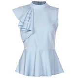 Peplum Ruffle Asymmetric Sleeveless Blouse-women-wanahavit-Light blue-L-wanahavit