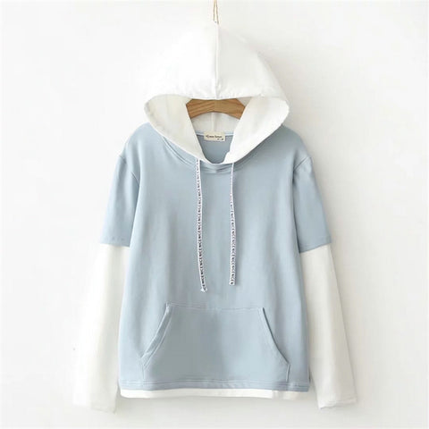 Nice Color Accent Patchwork Hooded Sweater
