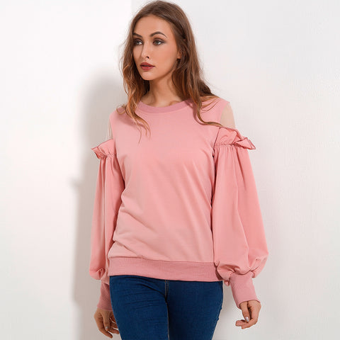 Cold Shoulder Ruffles Patchwork Sweatshirt