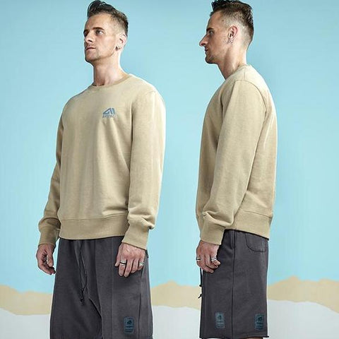 Solid Colored Long Sleeve Sweatshirt-men fashion & fitness-wanahavit-Khaki-M-wanahavit