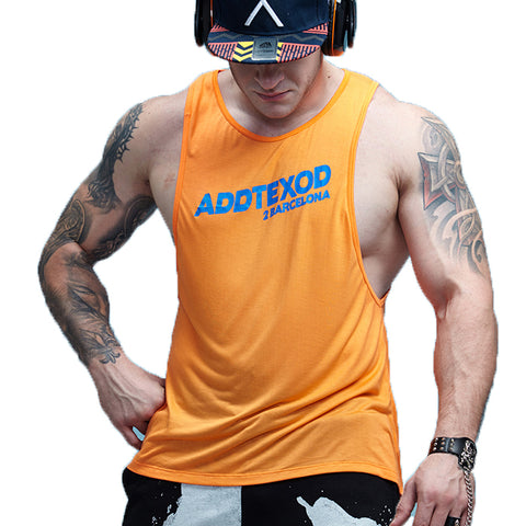 Crossfit Vivid Workout Low Cut Armhole Tanks-men fitness-wanahavit-Orange-M-wanahavit