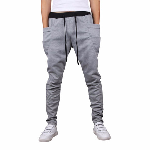 Unique Big Pocket Hip Hop Harem Pants-men-wanahavit-Light gray-M-wanahavit