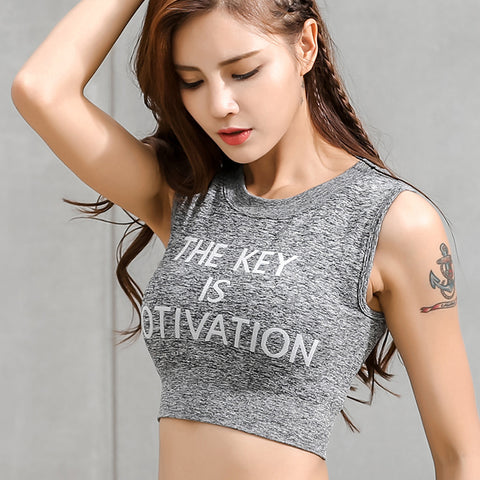The Key is Motivation Print Sleeveless Shirt