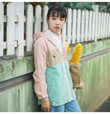 Cartoon Print Two Sided Loose Hooded Jacket