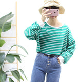 Autumn Striped Crop Top Long Sleeve - women - wanahavit